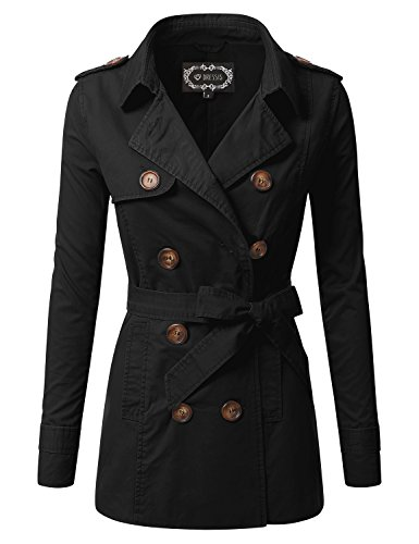 DRESSIS Women's Long Sleeve Double Breasted Coat with Belt BLACK L BLACK L