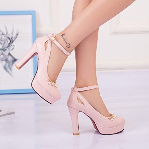 AIYOUMEI Damen Knöchelriemchen Plateau Geschlossen Pumps mit Perlen Dicker High Heel Elegant Modern Schuhe Rosa