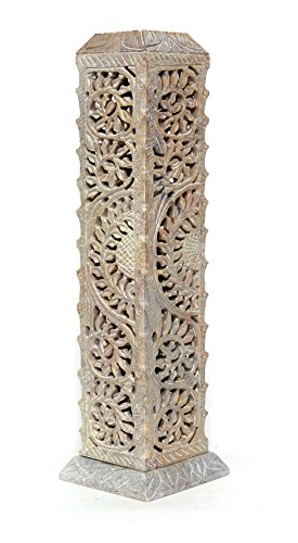 ArtistZila Decorative Floral Hand Carved Soapstone Square Incense and Candle Holder in Floral Vine Work for Home Decor/Gift (Beige, 8x8x28 cm Approx.)