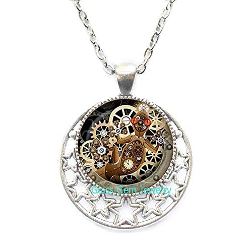 Steampunk Lizard Necklace,Gecko Glass Pendant Mechanical Clock Round Glass Dome Pendant Necklace s Jewelry,Q0126 (Y1)