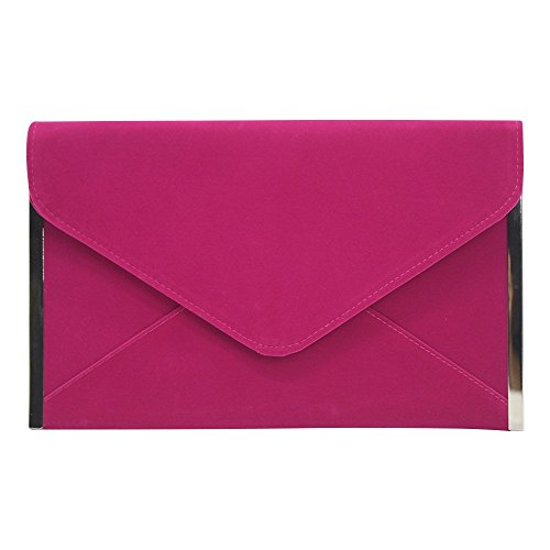Wocharm Womens Velvet Envelope Clutch Evening Purse Bridesmaid Party Wedding Bag Hot Pink