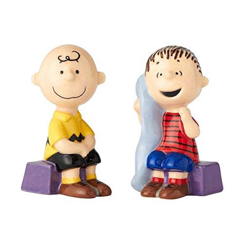 "Enesco Licensed Ceramics ""Peanuts"" Linus and Charlie Brown Salt and Pepper Shakers, 3.5"