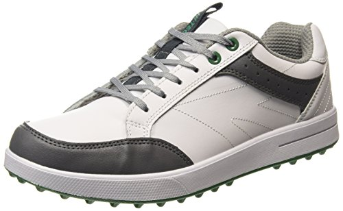 2015 Hi-Tec HT Combi Sneaker Leather Mens Spikeless Golf Shoes-Waterproof White/Grey
