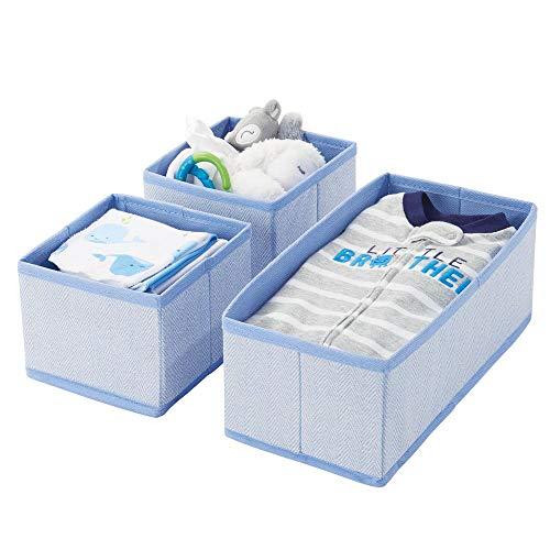 (mDesign Soft Fabric Dresser Drawer and Closet Storage Organizer for Kids/Toddler Room, Nursery, Playroom, Bedroom - Herringbone Print - Organizing Bins in 2 Sizes - Set of 3 - Blue)