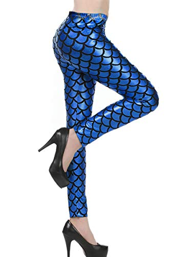 Womens Halloween Shiny Mermaid Fish Scale Leggings Ariel Party Costume Blue L