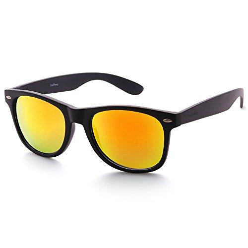 LotFancy Polarized Horn Rimmed Sunglasses for Women Men, 80's Retro Stylish Square Eyewear with Case, UV400 Protection, 54MM, Revo Red Mirrored Lens, Matte Black Resin Frame