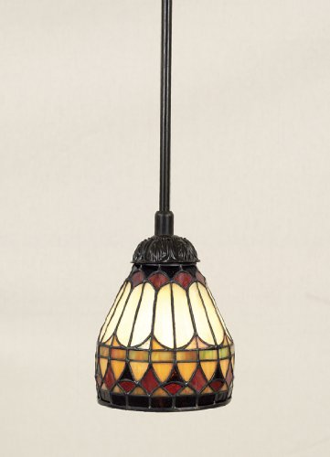 Quoizel Stained Glass Pendant - Quoizel TF1541VB Tiffany Cone Glass Mini Pendant Ceiling Lighting, 1-Light, 100 Watt, Vintage Bronze (9