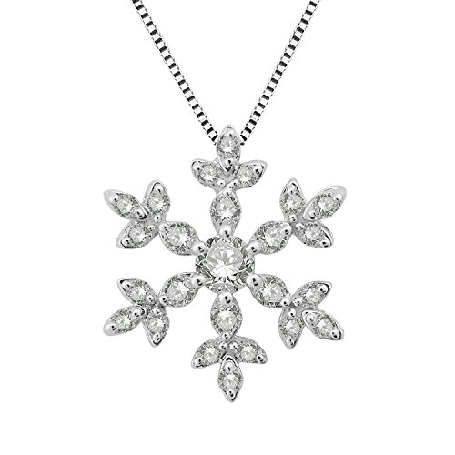 14k White Gold Snowflake Diamond Pendant Necklace (0.30 Carat)