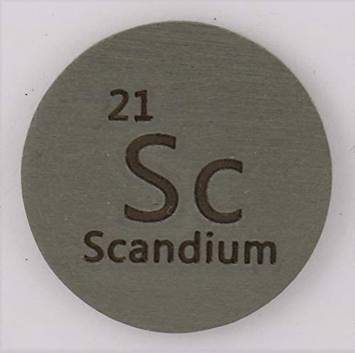 Scandium (Sc) 24.26mm Metal Disc 99.9% Pure for Collection or Experiments
