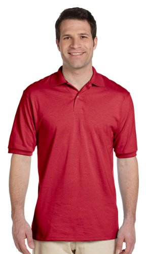 Jerzees mens 5.6 oz. 50/50 Jersey Polo with SpotShield(437)-TRUE RED-2XL