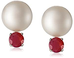 Sterling Silver 10-10.5mm White Freshwater Cultured Button Pearl  and 5mm Round Ruby Stud Earrings