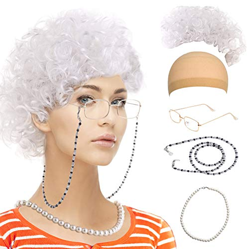 Old Lady Cosplay Set-Grandmother Wig,Wig Caps,Madea Granny Glasses, Eyeglass Retainer Chain,Pearl Necklace(5 Pieces) Fits All (Style-7) -