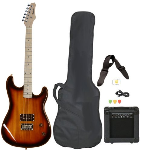 - Full Size Electric Guitar with Amp, Case and Accessories Pack Beginner Starter Package Vintage Sunburst