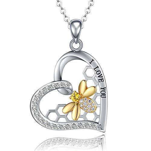STROLLGIRL 925 Sterling Silver Cute Bee Necklace - Heart Honeycomb Cubic Zirconia Pendant Jewelry Gifts for Women Girls ()
