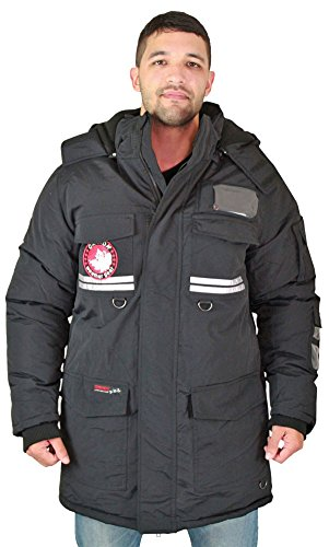 Blk Parka (Canada Weather Gear Mens Faux Goose Down Expedition Parka Blk Size 2XL)