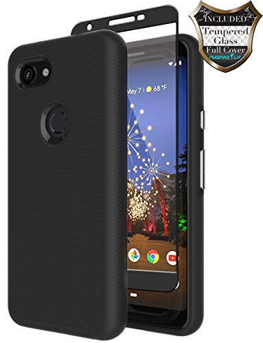 Silicon Case Protector Cover - Google Pixel 3a Case with [Tempered Glass Screen Protector] Nuomaofly Anti-Slip Hard Silicone Textured Shell Back Cover with Armor Durable Protection for Google Pixel 3a (Black)