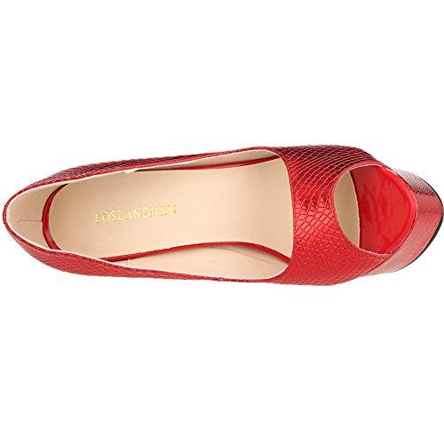 Loslandifen Scarpe Da Donna Peep Toe In Pelle Piattaforma Pompe Tacco Alto Scarpe Con Tacco Rosso Piccola Grossa Coccodrillo