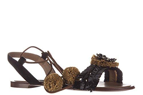 Dolce & Gabbana Sandales En Cuir Pour Femme Noir
