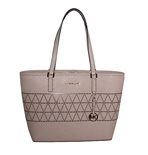 MICHAEL Michael Kors Women's Jet Set Travel Carry All Medium TOTE Leather Handbag (Ballet) by MICHAEL Michael Kors