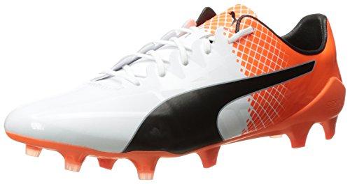 Puma Mens evoSPEED SL Lth FG Soccer Cleat Puma White/Puma Black