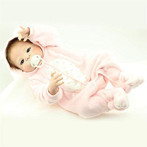 - Fan Moon Full Body Soft Silicone Baby Doll Pink Rabbit Clothes 23-Inch
