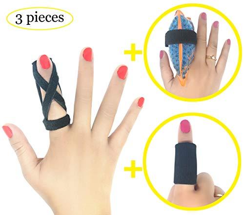 BodyMoves Finger Splint Design Plus Hot and Cold Finger Gel Pack Plus Sleeve Trigger Finger Mallet Broken Finger Post Operative Tenosynovitis(Coal Black)