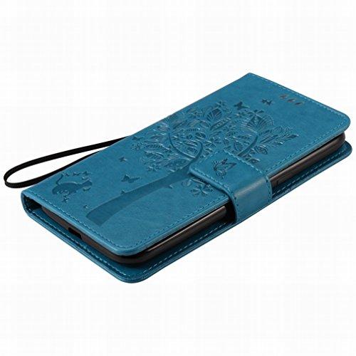 Custodia Motorola Moto G4 Cover Case, Ougger Alberi Gatto Printing Portafoglio PU Pelle Magnetico Stand Morbido Silicone Flip Bumper Protettivo Gomma Shell Borsa Custodie con Slot per Schede (Azzurro)