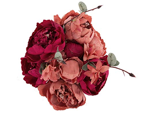 Ezflowery Artificial Peony Silk Flowers Arrangement Bouquet for Wedding Centerpiece Room Party Home Decoration, Elegant Vintage, Perfect for Spring and Summer Party and Occasions (1, Red)