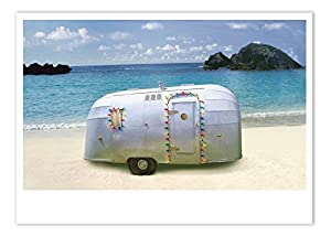 palm press inc christmas cards trailer on beach 12 holiday cards envelopes printed in usa - Beach Christmas Cards