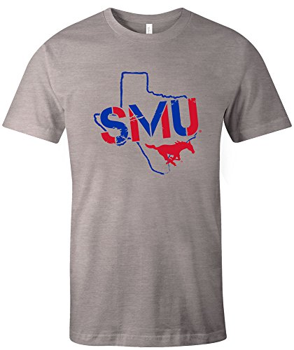 Mustang Adult T-shirt - NCAA SMU Mustangs Adult NCAA Stenciled Short sleeve Triblend T-Shirt,Large,AthleticGrey