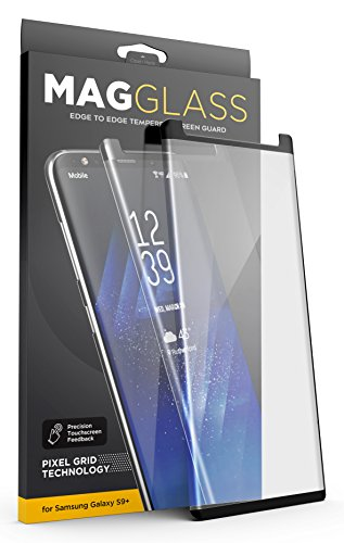 [Case compatible] Galaxy S9 Plus Tempered Glass Screen Protector, MagGlass (XT90 Scratchproof / Shatterproof) Reinforced Screen Guard w/ Pixel Grid Technology (Includes precision applicator)