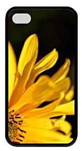 the best cover Yellow Flower Petals TPU Black Case for iphone 4/4S