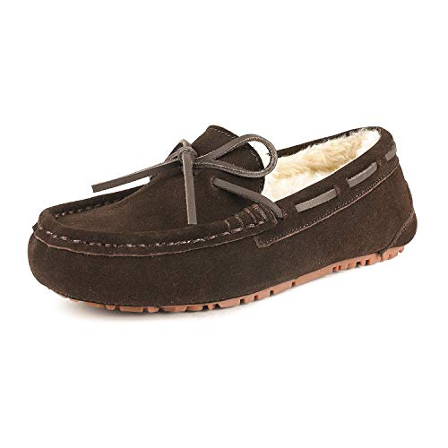 DREAM PAIRS Women's Auzy-02 Brown Faux Fur Moccasin Slippers Size 6.5-7 B(M) US (Womens Brown Moccasins)