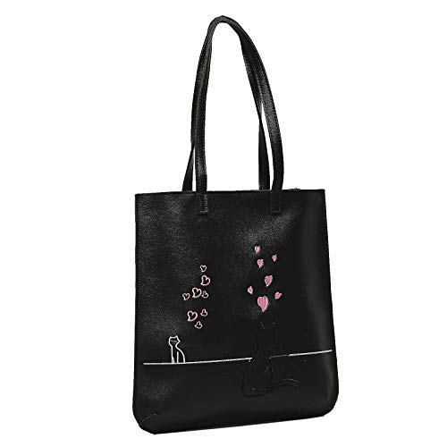 Tote Leather Love - Black Cat Love Unisex Faux Leather Tote Bag Eco Shopping Handbag Zip Closure (Black)