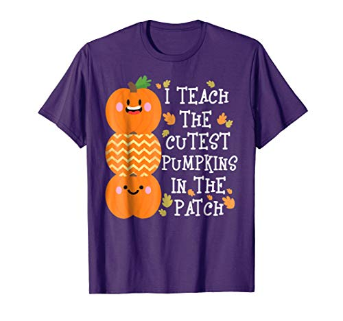 Mens I Teach The Cutest Pumpkins In The Patch Halloween T-Shirt Large Purple -