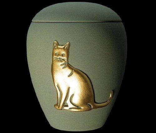 Kronos - Urne cinéraire couleur verte en céramique à motif de chat - Dim : Cm 8, 5 x h Cm 11, 5; Vol. lt 0, 5