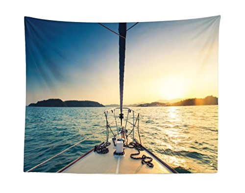 (Lunarable Sailboat Nautical Tapestry, Nose of Yacht Sailing in The Sea at Sunset Distant Hills Seaside Sun, Fabric Wall Hanging Decor for Bedroom Living Room Dorm, 28 W X 23)
