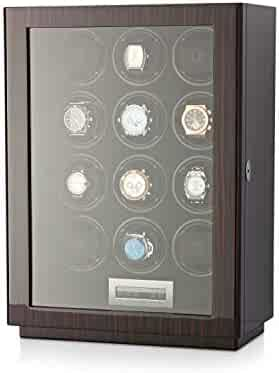 Watch Winder Box for Self-Winding up to 12 Automatic Watches with LED Case Backlight, LCD Touchscreen Display for All Watch Brands and All Watch Sizes (Macassar)