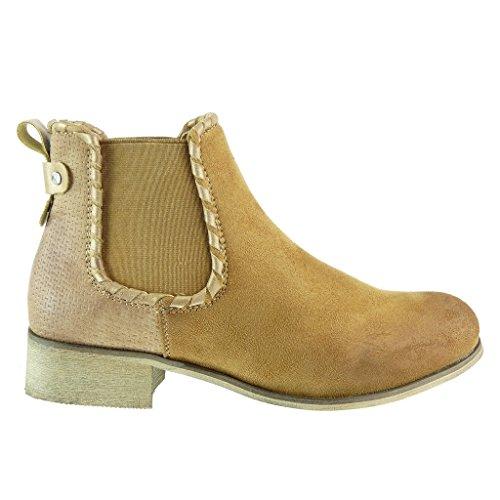 Angkorly - Chaussure Mode Bottine chelsea boots cavalier bi-matière femme tréssé clouté Talon bloc 3.5 CM - Camel