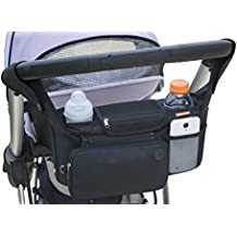 Original ONETWOBE Stroller Organizer – Universal fit, Insulated Cup Holders, Detachable Pockets, Shoulder Strap. Large Storage Space for Diapers, Toys, Sippy Cups and More.