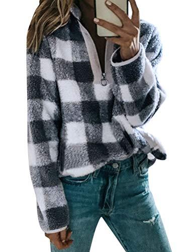 Ezcosplay Women Warm Zipped High Neck Long Sleeve Sweatshirt Thin Plaid Tops