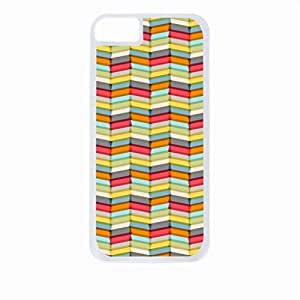 MEIMEI Overlapping Chevrons- Case for the Apple ipod touch 5-Hard White Plastic Outer Shell with Inner Soft Black Rubber LiningLINMM58281