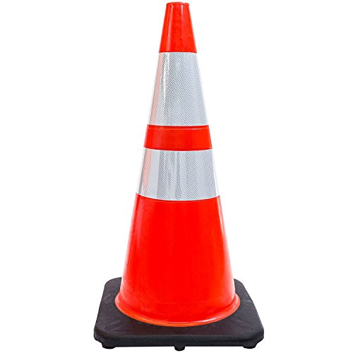 (Set of 48) 28'' RK Orange Safety Traffic PVC Cones, Black Base with Two Reflective Collars by RK Safety