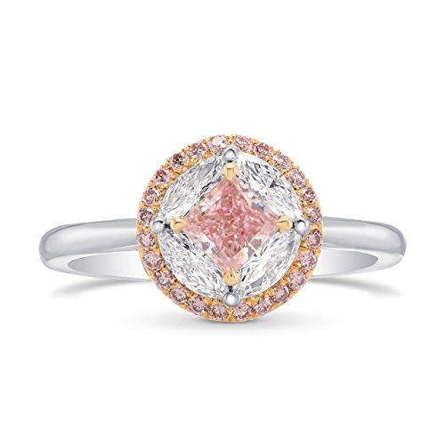 0.88Cts Pink Diamond Engagement Extraordinary Ring Set in Platinum GIA Hofer Size 5.75