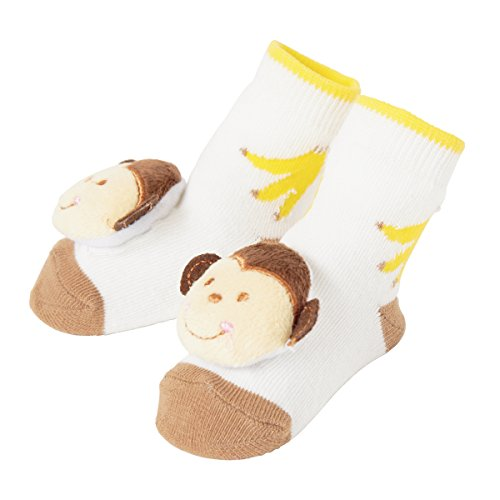 Baby Dumpling C.R. Gibson Monkey Rattle Sock Booties for Newborns, Infants, and Babies - 1 Pair ()