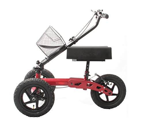 Health Port All-Road Knee Walker | Steerable Medical Scooter for Adults | Foldable & Lightweight | Smooth Pneumatic 12'' Wheels & Locking Parking Brakes | Adjustable Knee Pad & Handlebar | Red by Health Port (Image #3)