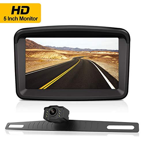 Backup Camera with 5″ Monitor License Plate Mounted Reverse HD Camera Night Vision Waterproof + Rear View High Definition LCD Backing Monitor Safety Reversing for Car/Truck/Pickup/Van/Camping Car/RV