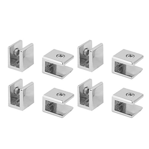 uxcell a16063000ux0364 Wall Mounted Adjustable Zinc Alloy Glass Shelf Clip Clamp Bracket Support (Pack of 8)