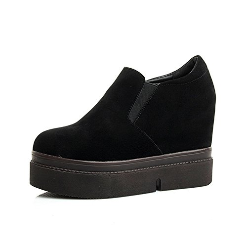 Btrada Womens Winter Elastic Panel Booties Thick Bottom Slide-On High Increase Hidden Ankle Boots Black