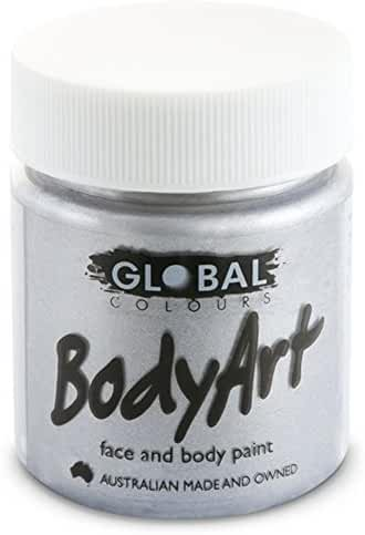Global Body Art Face Paint - Liquid Silver (45 ml/1.5 oz)